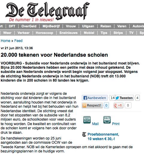 Telegraaf 21 juni 2013 (NOB)